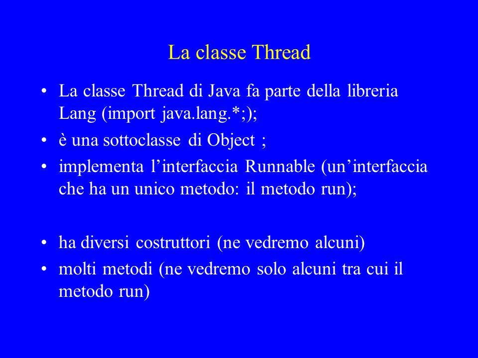 La classe Thread La classe Thread di Java fa parte della libreria Lang (import java.lang.*;); è una sottoclasse di Object ;