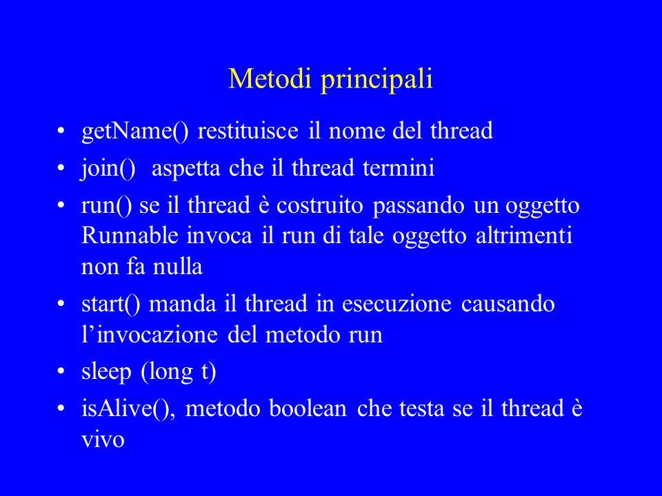 Metodi principali getName() restituisce il nome del thread