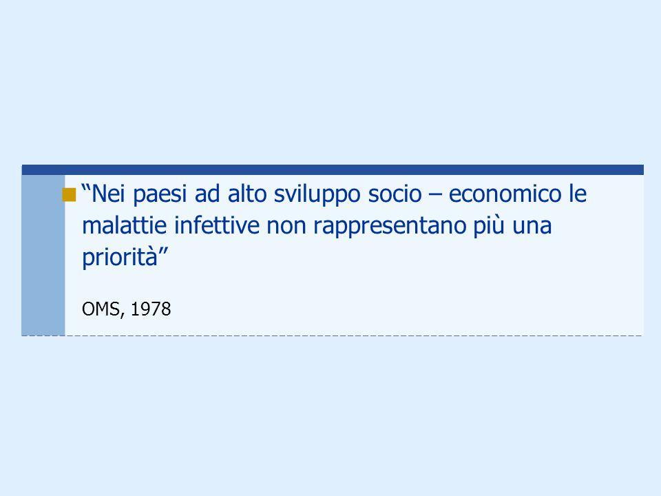 Nei paesi ad alto sviluppo socio – economico le malattie infettive non rappresentano più una priorità OMS, 1978