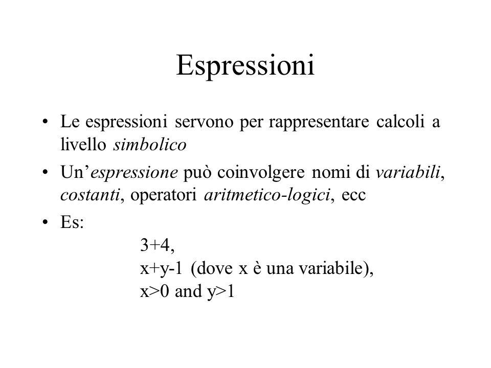 Espressioni Le espressioni servono per rappresentare calcoli a livello simbolico.