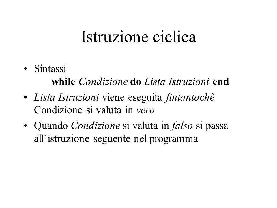 Istruzione ciclica Sintassi while Condizione do Lista Istruzioni end