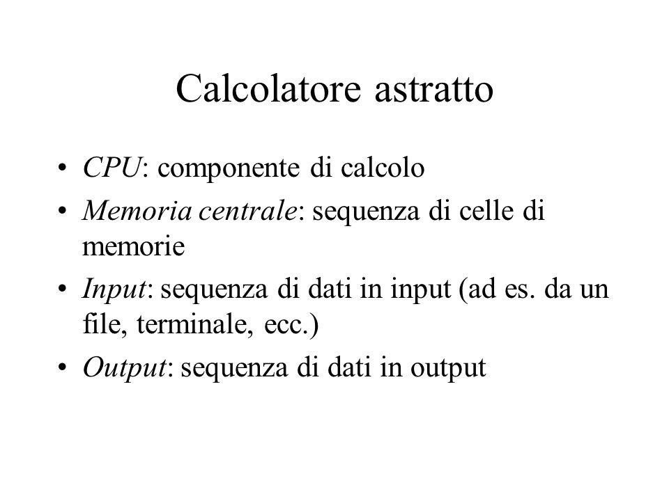 Calcolatore astratto CPU: componente di calcolo