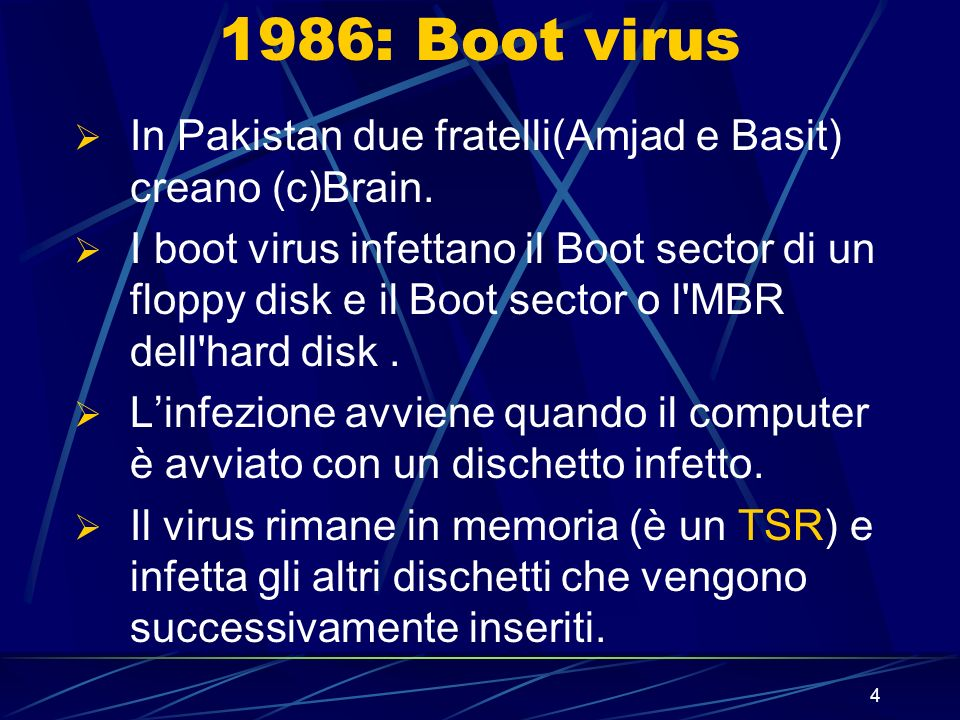 1986: Boot virus In Pakistan due fratelli(Amjad e Basit) creano (c)Brain.