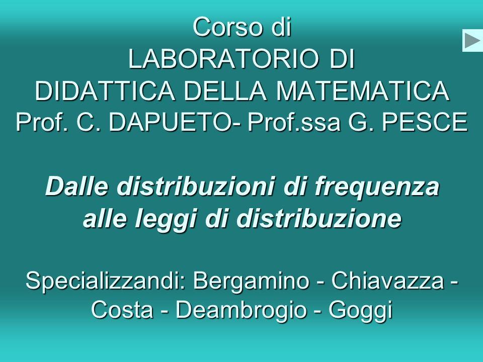 Corso di LABORATORIO DI DIDATTICA DELLA MATEMATICA Prof. C
