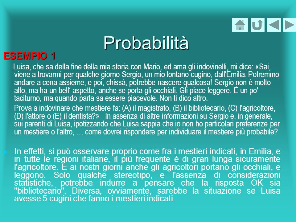 ProbabilitàESEMPIO 1.