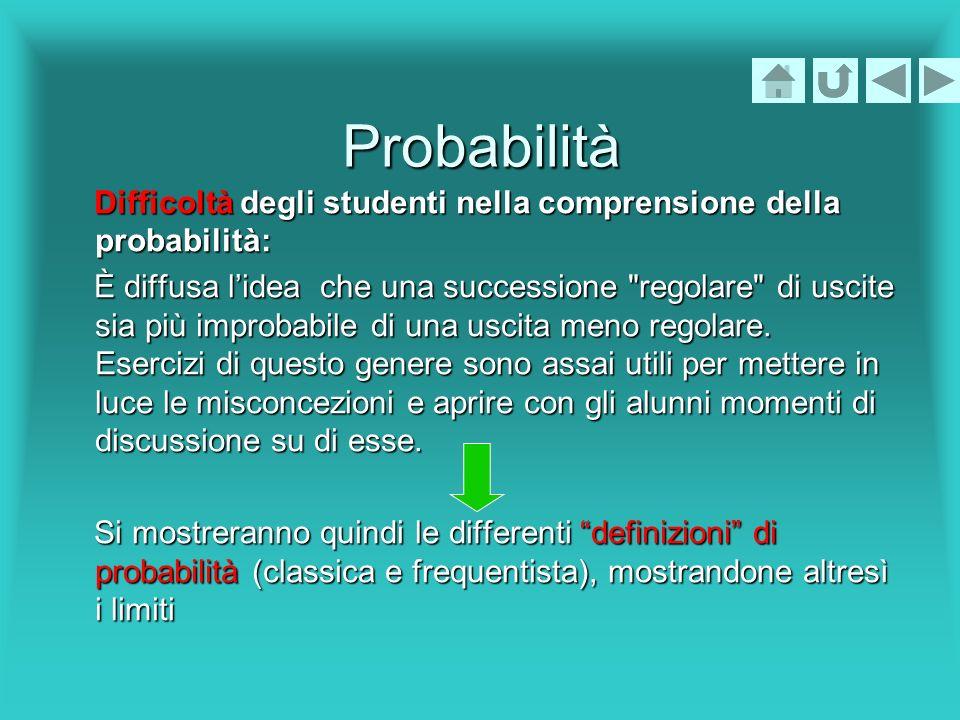 Probabilità Difficoltà degli studenti nella comprensione della probabilità: