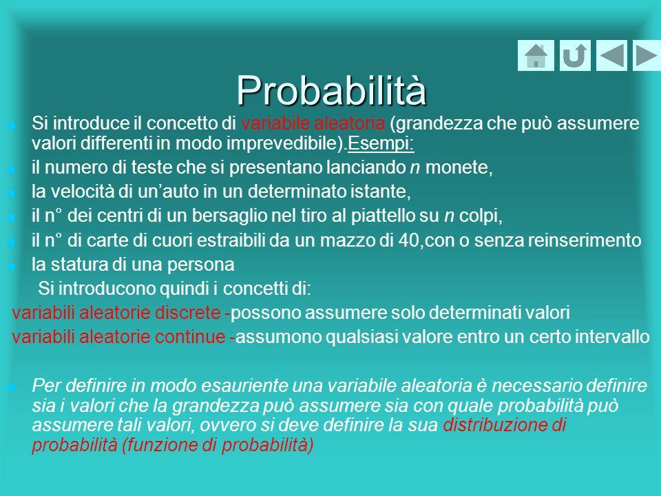 Probabilità Si introduce il concetto di variabile aleatoria (grandezza che può assumere valori differenti in modo imprevedibile).Esempi: