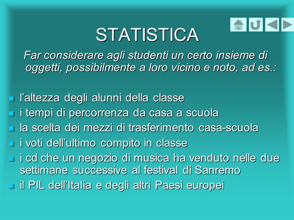 STATISTICA Far considerare agli studenti un certo insieme di oggetti, possibilmente a loro vicino e noto, ad es.: