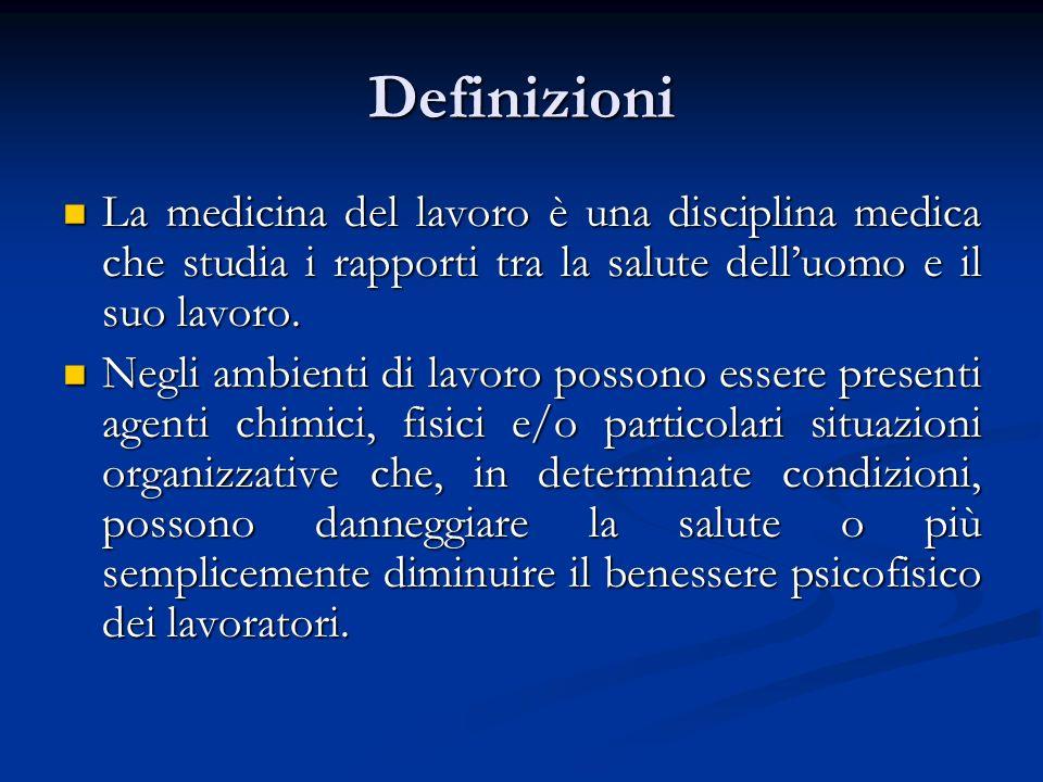 Definizioni La medicina del lavoro è una disciplina medica che studia i rapporti tra la salute dell'uomo e il suo lavoro.
