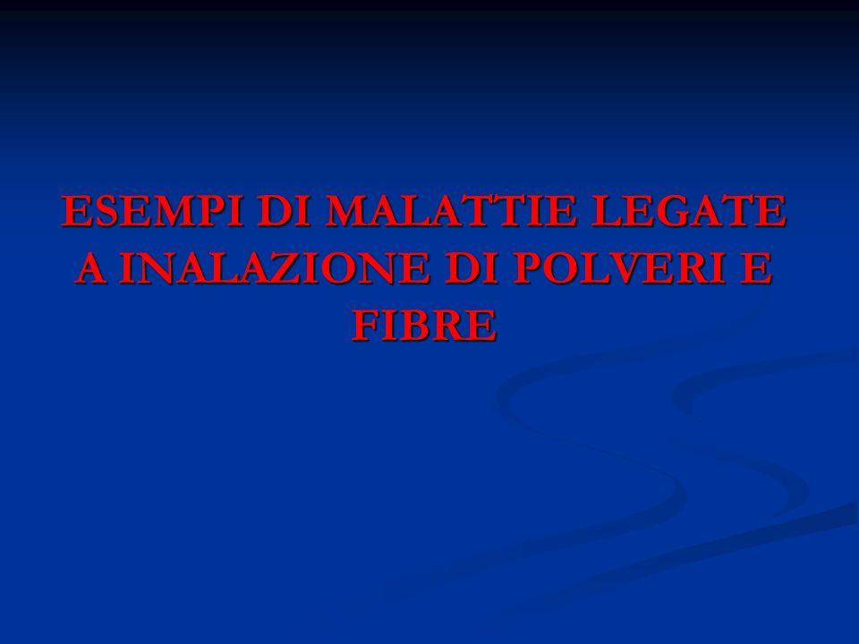ESEMPI DI MALATTIE LEGATE A INALAZIONE DI POLVERI E FIBRE