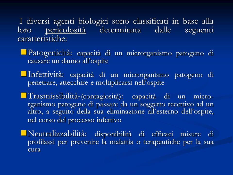 I diversi agenti biologici sono classificati in base alla loro pericolosità determinata dalle seguenti caratteristiche: