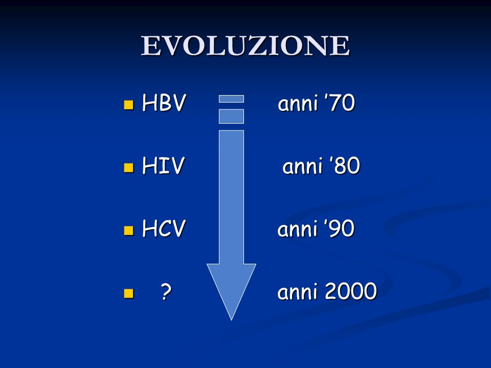 EVOLUZIONE HBV anni '70. HIV anni '80.