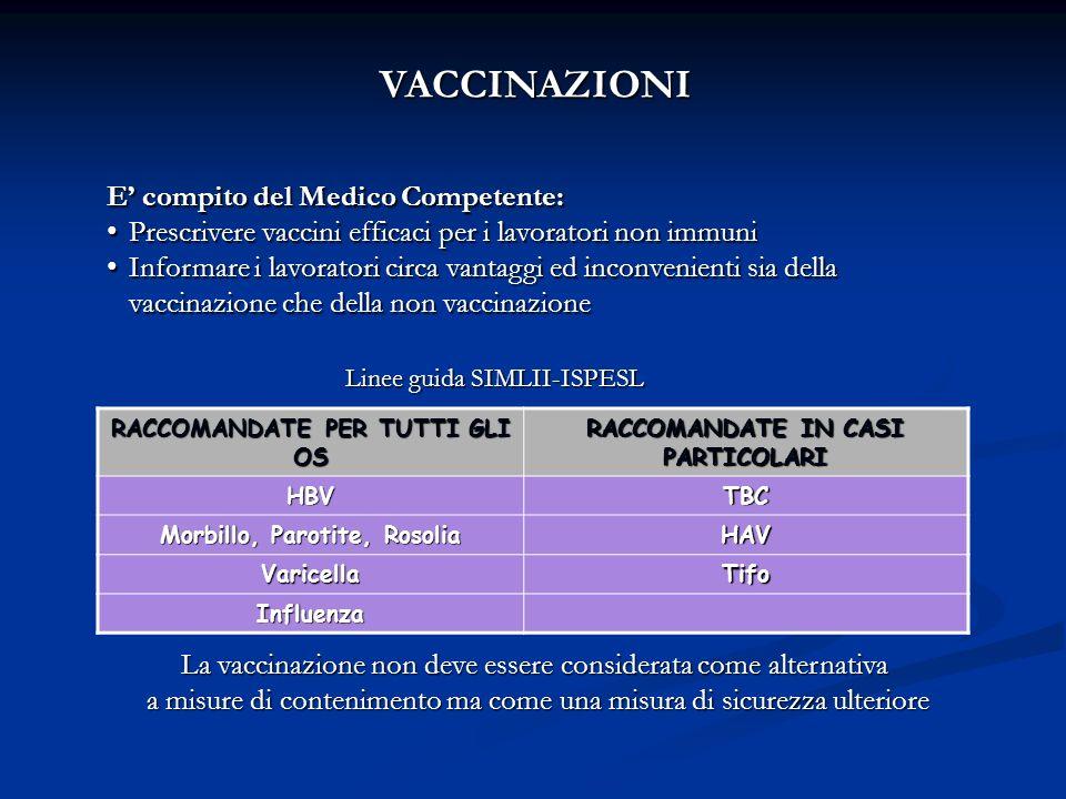 VACCINAZIONI E' compito del Medico Competente: