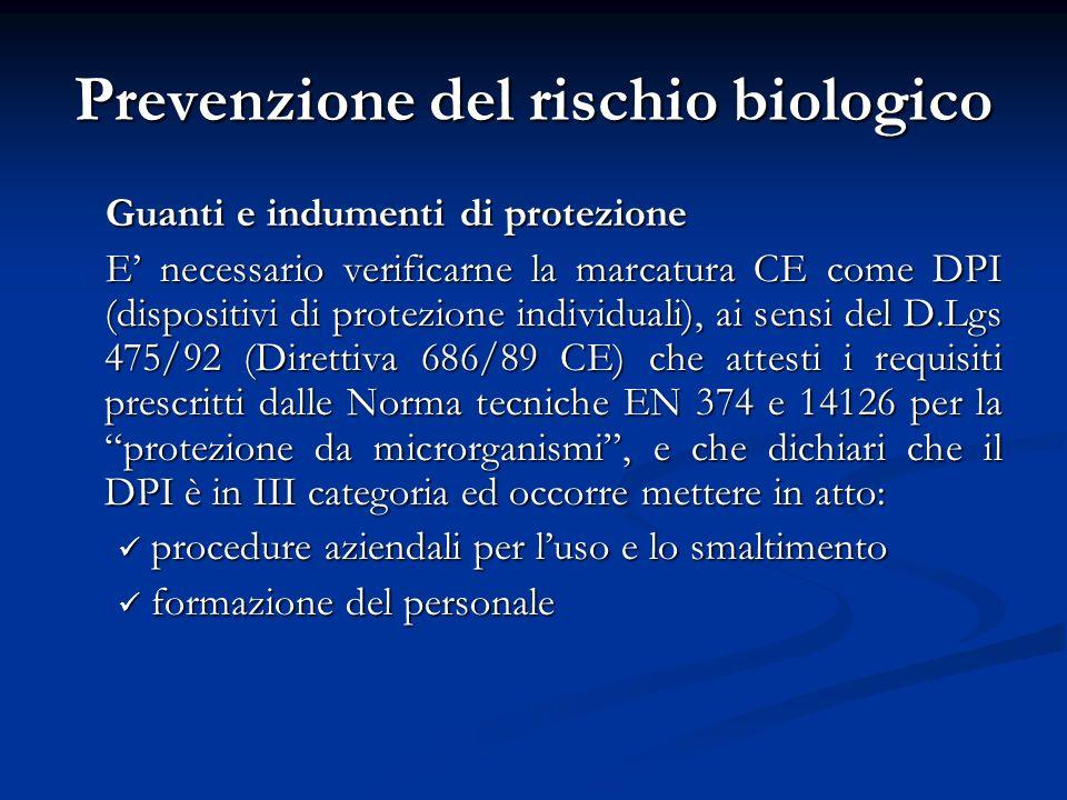 Prevenzione del rischio biologico
