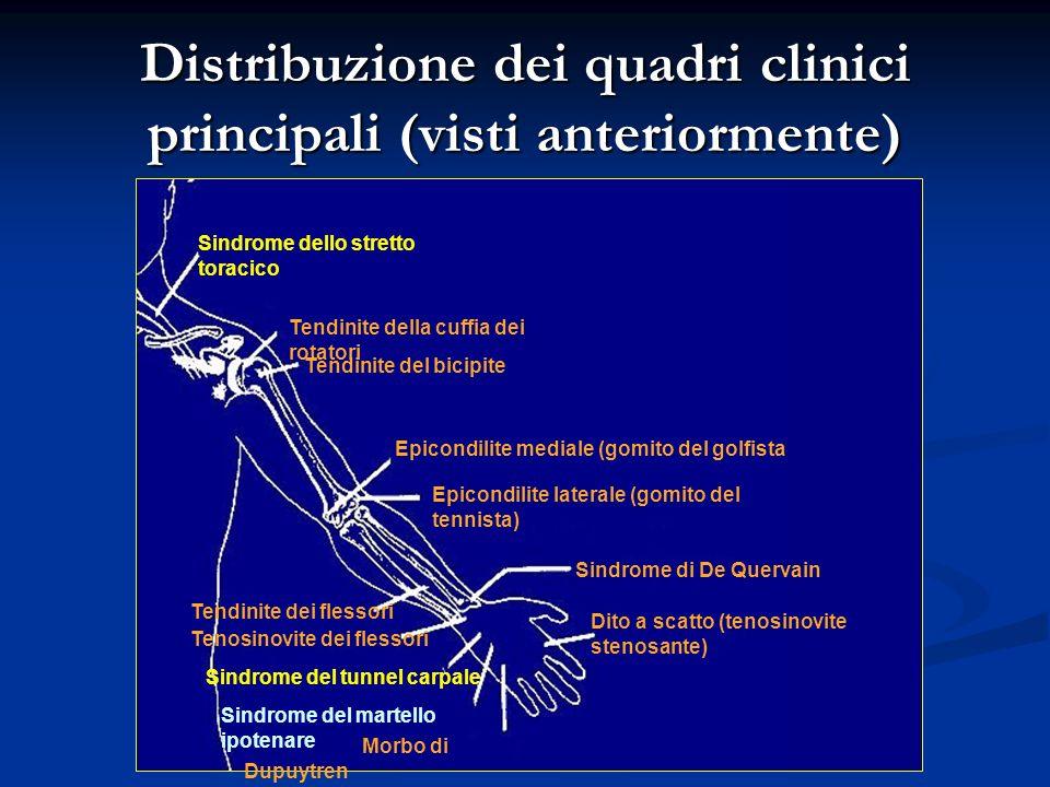 Distribuzione dei quadri clinici principali (visti anteriormente)