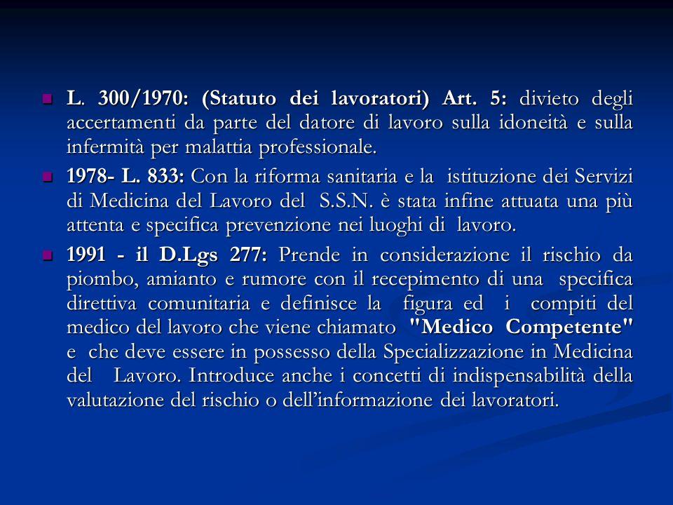 L. 300/1970: (Statuto dei lavoratori) Art