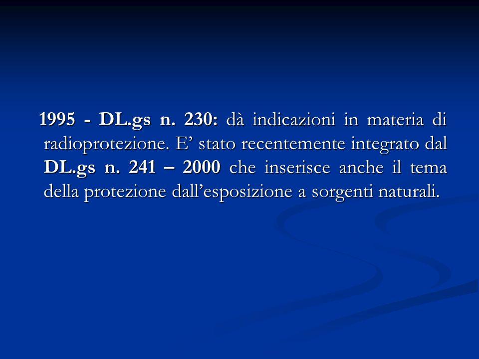 1995 - DL. gs n. 230: dà indicazioni in materia di radioprotezione
