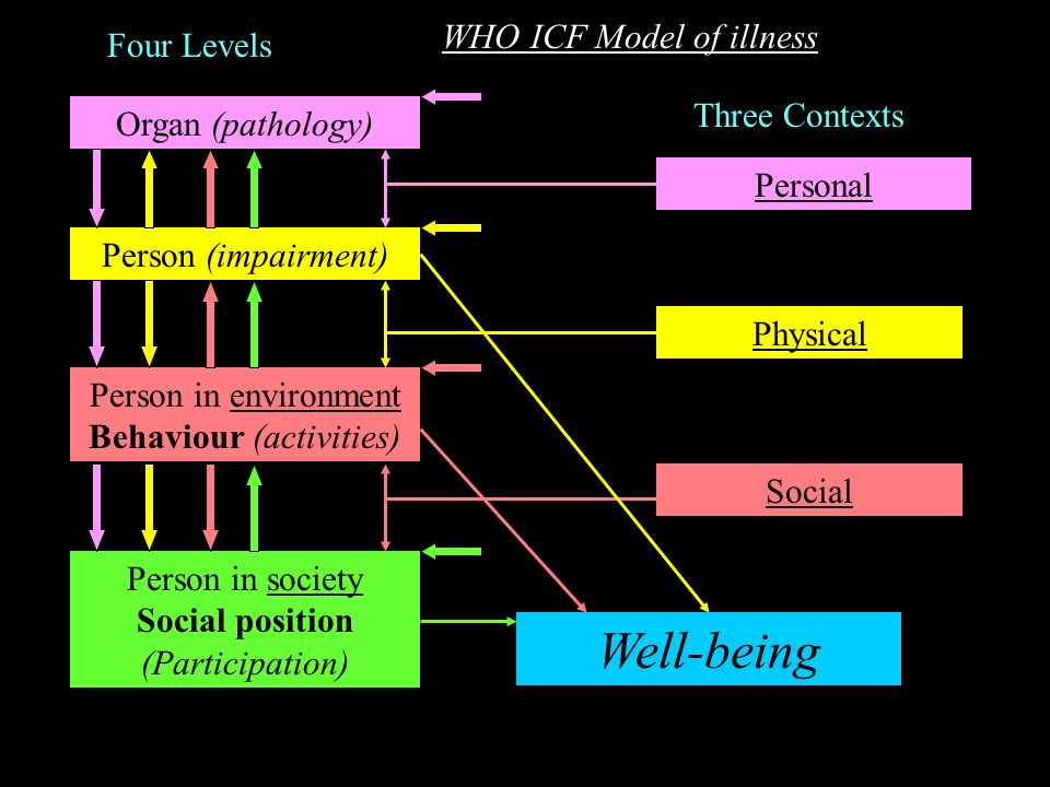 Well-being WHO ICF Model of illness Four Levels Three Contexts