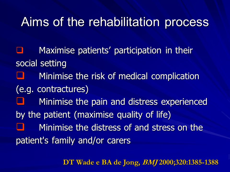 Aims of the rehabilitation process