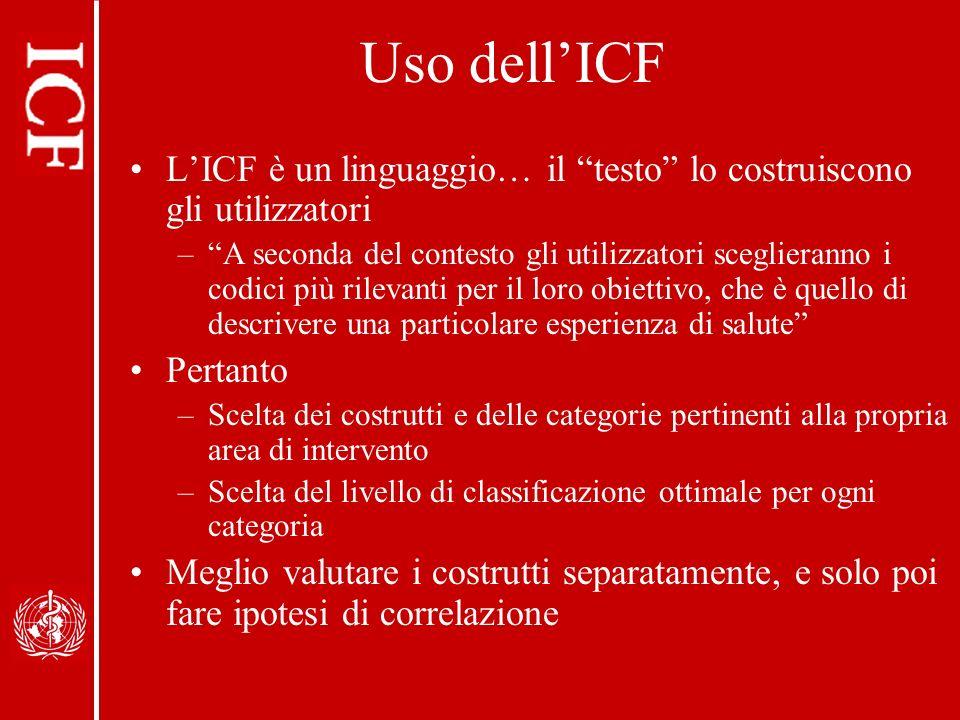 Uso dell'ICF L'ICF è un linguaggio… il testo lo costruiscono gli utilizzatori.