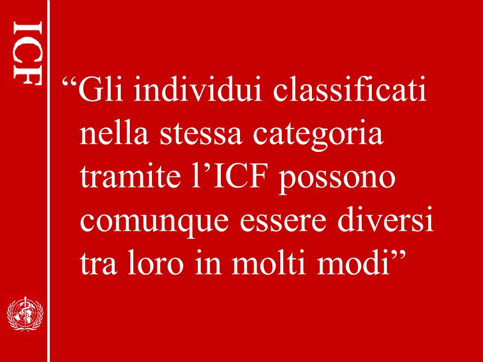 Gli individui classificati nella stessa categoria tramite l'ICF possono comunque essere diversi tra loro in molti modi