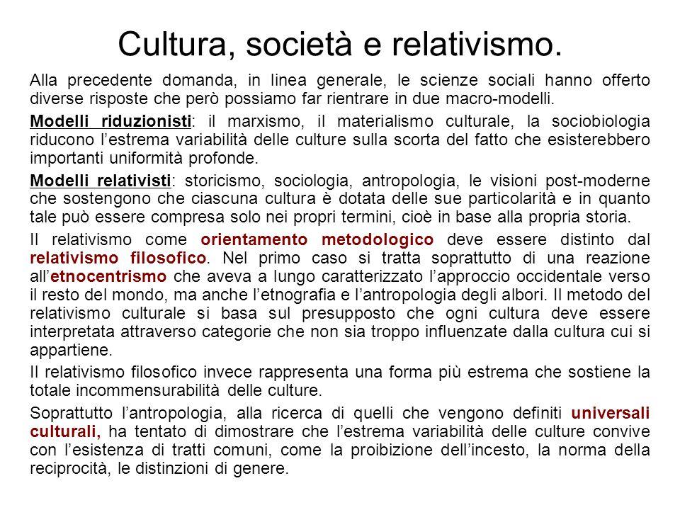 Cultura, società e relativismo.