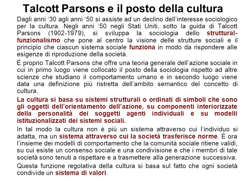 Talcott Parsons e il posto della cultura