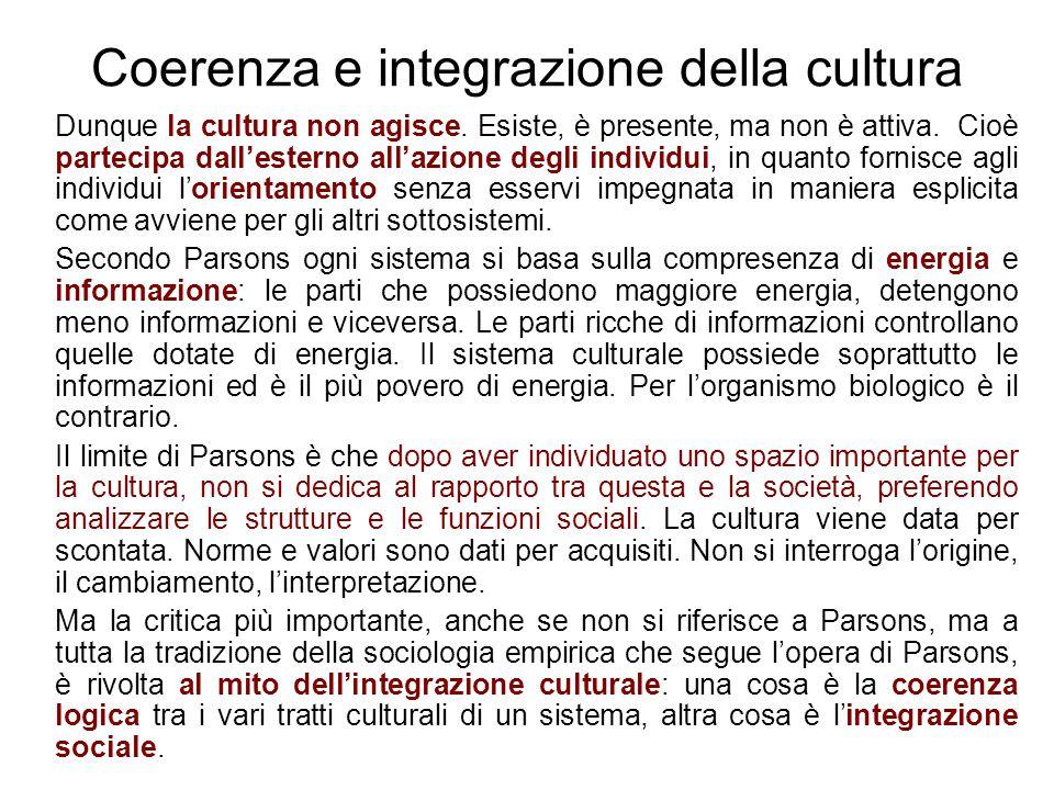 Coerenza e integrazione della cultura