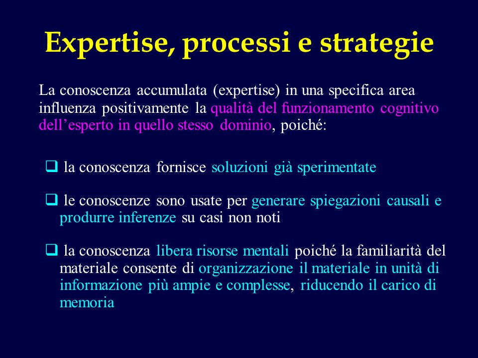 Expertise, processi e strategie