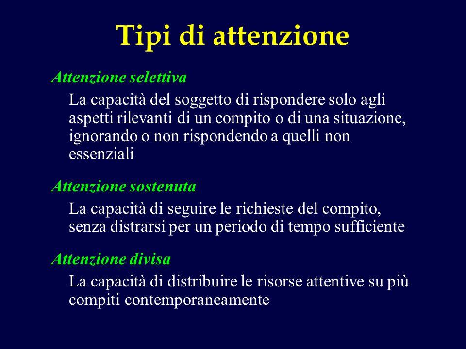 Tipi di attenzione Attenzione selettiva