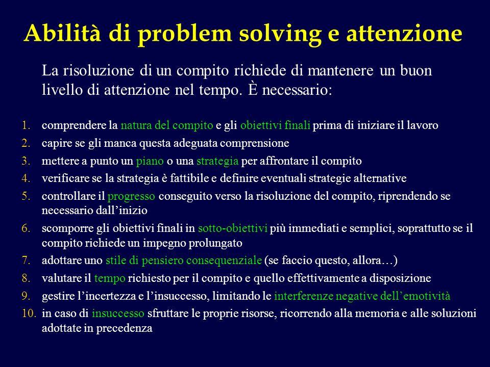 Abilità di problem solving e attenzione