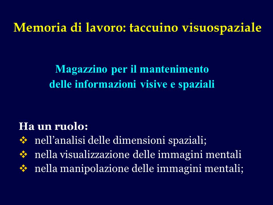 Memoria di lavoro: taccuino visuospaziale