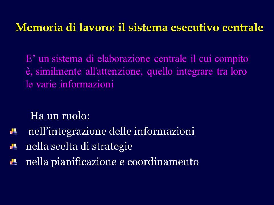 Memoria di lavoro: il sistema esecutivo centrale