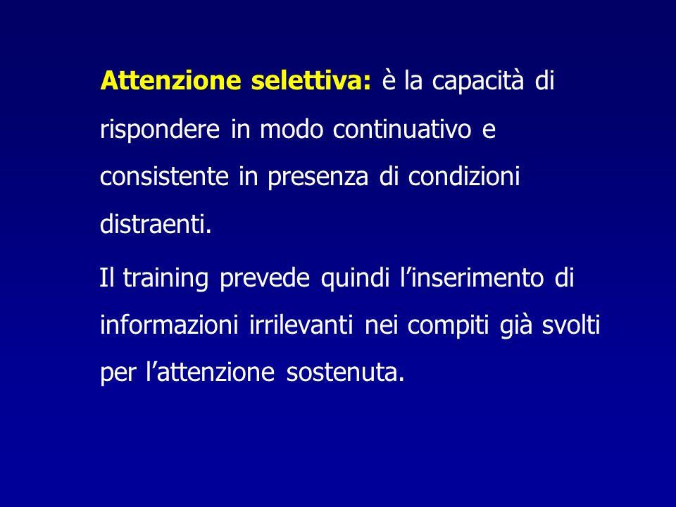 Attenzione selettiva: è la capacità di rispondere in modo continuativo e consistente in presenza di condizioni distraenti.