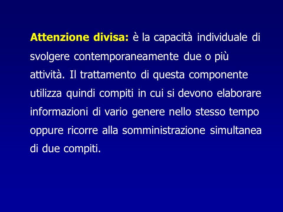 Attenzione divisa: è la capacità individuale di svolgere contemporaneamente due o più attività.