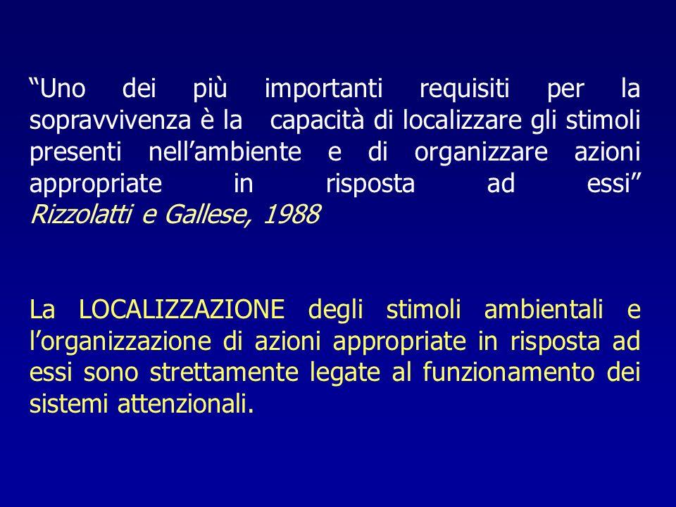 Uno dei più importanti requisiti per la sopravvivenza è la capacità di localizzare gli stimoli presenti nell'ambiente e di organizzare azioni appropriate in risposta ad essi Rizzolatti e Gallese, 1988