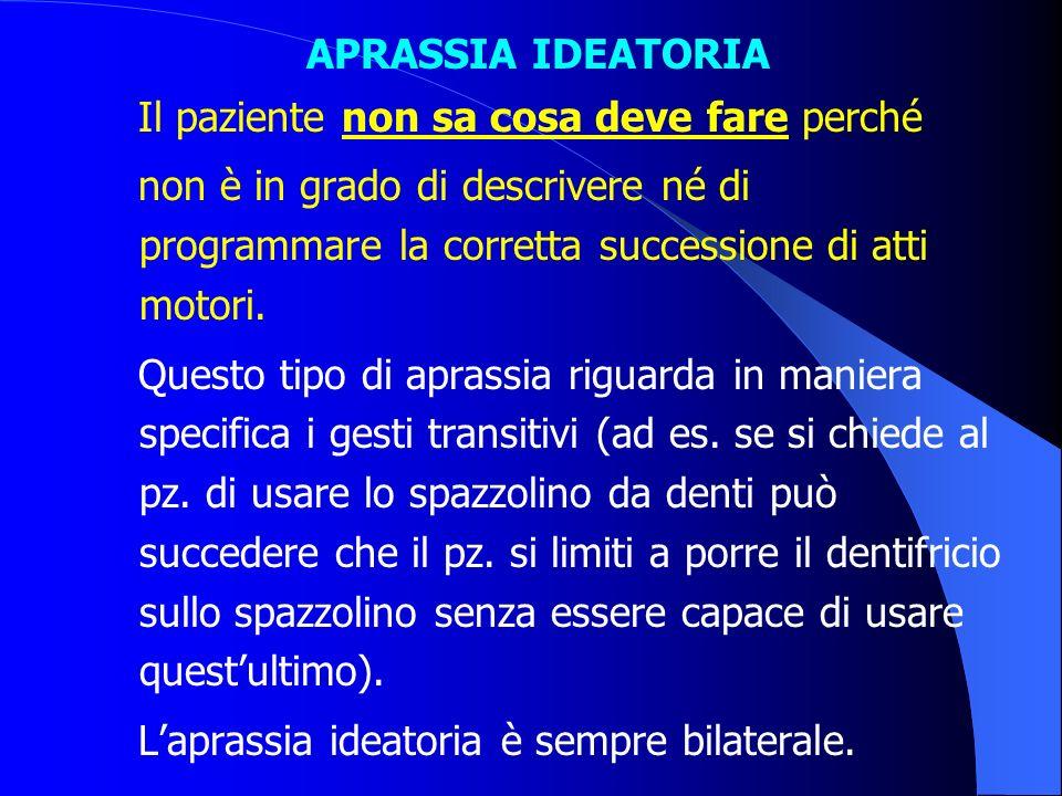 APRASSIA IDEATORIA Il paziente non sa cosa deve fare perché. non è in grado di descrivere né di programmare la corretta successione di atti motori.