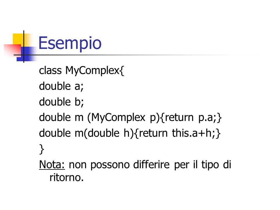 Esempio class MyComplex{ double a; double b;