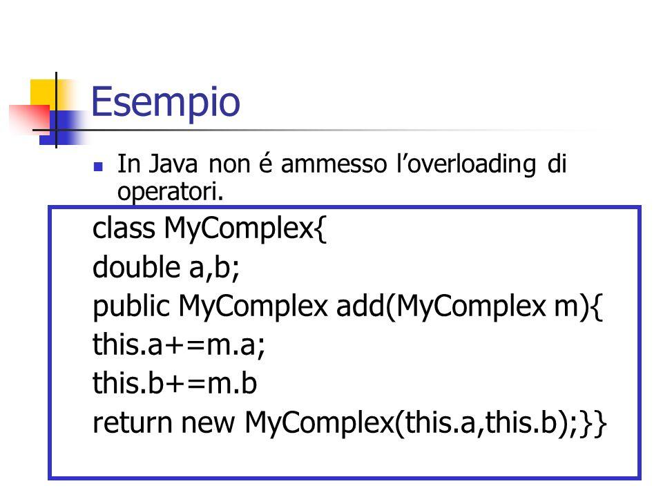 Esempio class MyComplex{ double a,b;