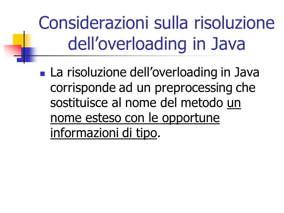 Considerazioni sulla risoluzione dell'overloading in Java
