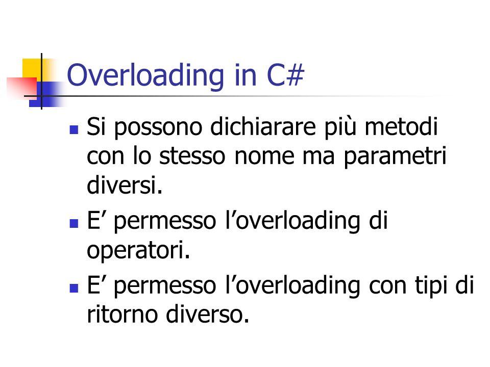 Overloading in C# Si possono dichiarare più metodi con lo stesso nome ma parametri diversi. E' permesso l'overloading di operatori.