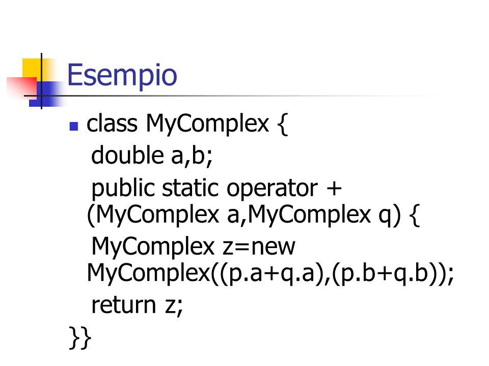 Esempio class MyComplex { double a,b;
