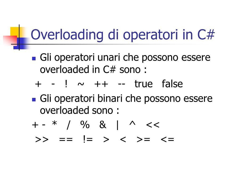 Overloading di operatori in C#