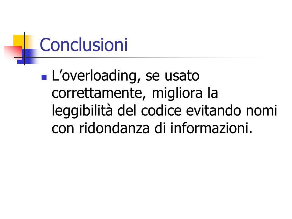 Conclusioni L'overloading, se usato correttamente, migliora la leggibilità del codice evitando nomi con ridondanza di informazioni.