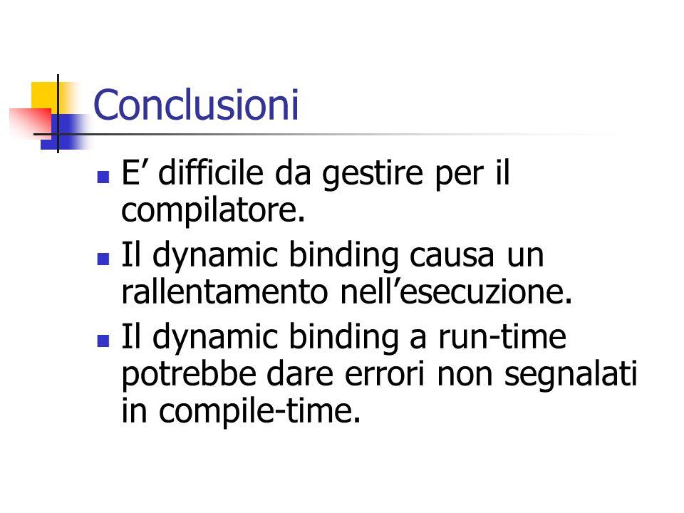 Conclusioni E' difficile da gestire per il compilatore.