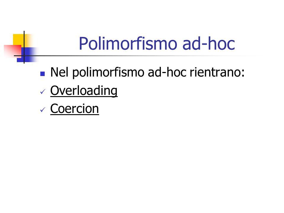 Polimorfismo ad-hoc Nel polimorfismo ad-hoc rientrano: Overloading