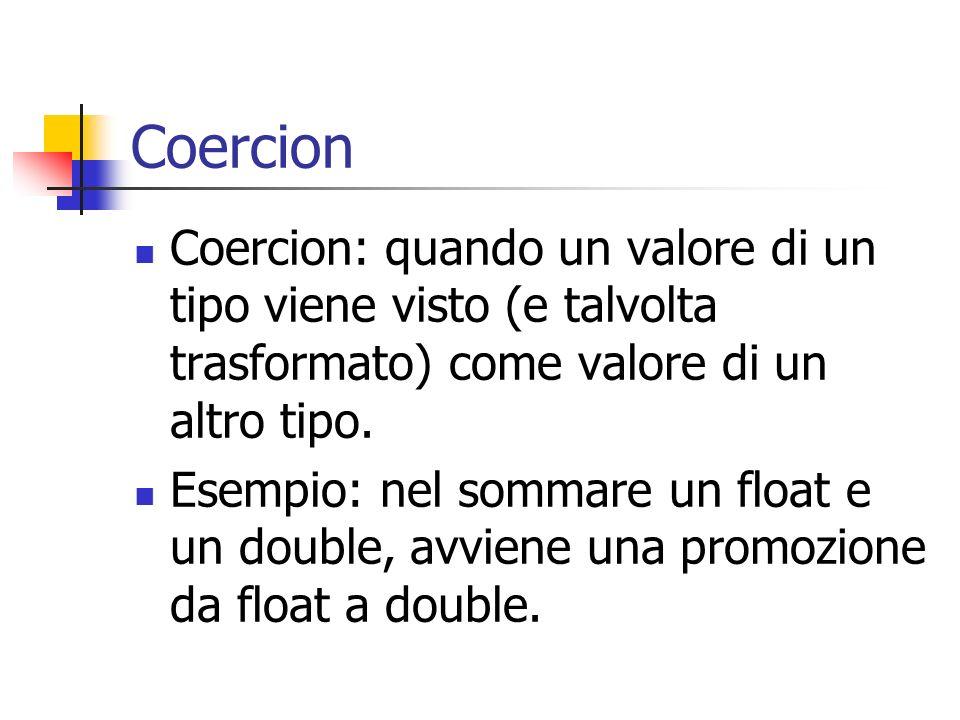 Coercion Coercion: quando un valore di un tipo viene visto (e talvolta trasformato) come valore di un altro tipo.