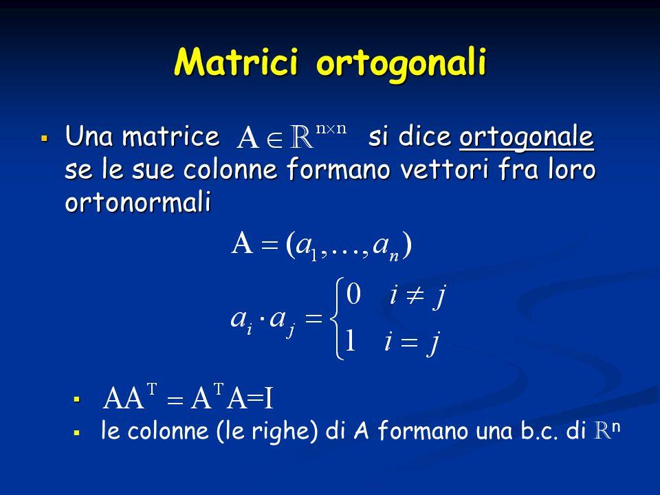 Matrici ortogonali Una matrice si dice ortogonale se le sue colonne formano vettori fra loro ortonormali.