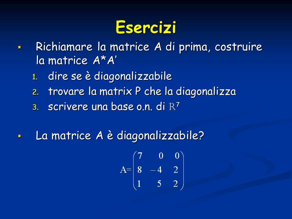 Esercizi Richiamare la matrice A di prima, costruire la matrice A*A'