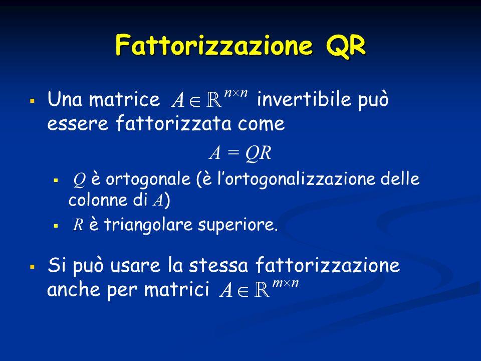 Fattorizzazione QRUna matrice invertibile può essere fattorizzata come. A = QR.